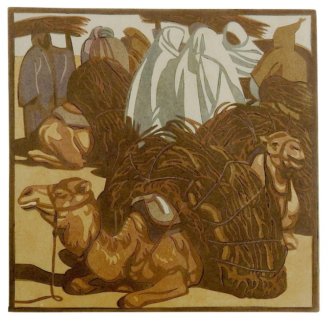 Norbertine Von Bresslern-Roth Camel Woodcut For Sale