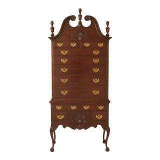 1990s Chippendale Kittinger Ball & Claw Mahogany Highboy For Sale