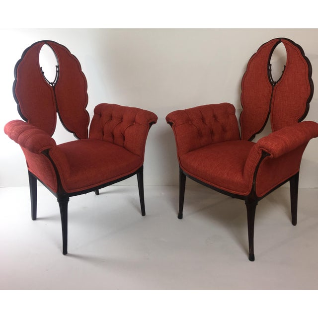 1980s Mid-Century Orange Upholstered Butterfly Chairs - a Pair For Sale - Image 5 of 5