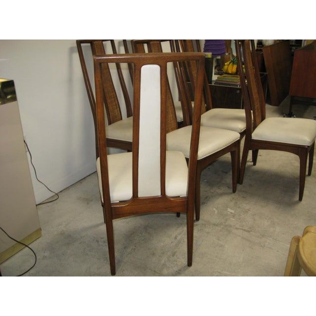 Walnut and Cane Dining Chairs by John Stuart- Set of 6 For Sale - Image 9 of 11