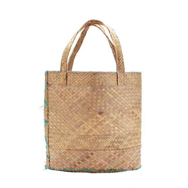 1950s Vintage Woven Nassau Tote Bag Souvenir For Sale - Image 5 of 7