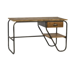 Reclaimed Wood and Iron Desk For Sale