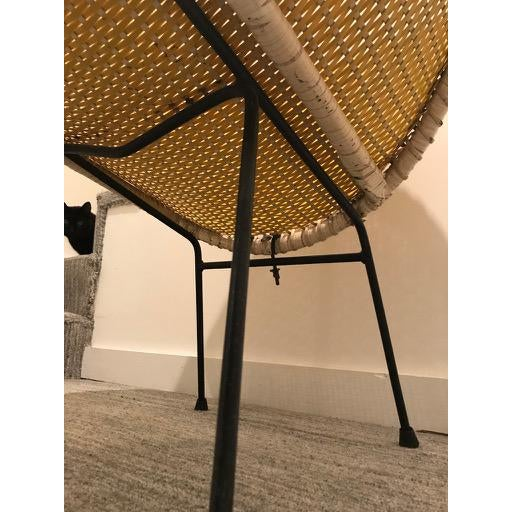 1960s Vintage Mid-Century Atomic Vinyl Yellow Basket Chair For Sale - Image 5 of 13