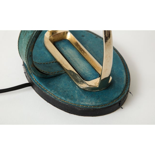 "Very Nice Blue Leather ""Stirrup"" Lamp in the Style of Jacques Adnet For Sale In New York - Image 6 of 11"