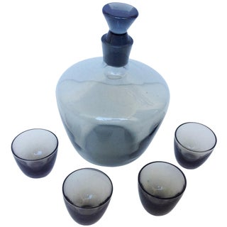 5-Piece Holmegaard Decanter Set in Smoke For Sale