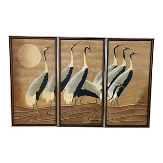 Vintage Hollywood Regency Triptych Painting For Sale