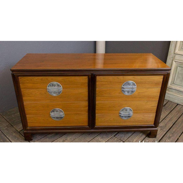 "American Midcentury ""Chinese-Modern"" Low Chest of Drawers For Sale - Image 9 of 11"