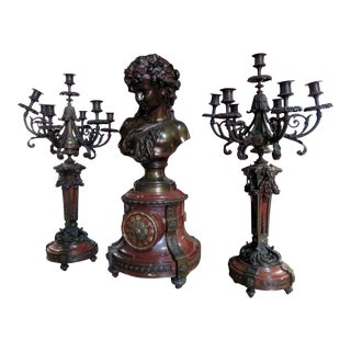 Canivet Palatial Bronze Clock & Candelebras - 3 Pc. Set