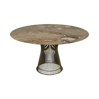"""Warren Platner for Knoll 54"""" Round Marble Top Dining Table For Sale"""