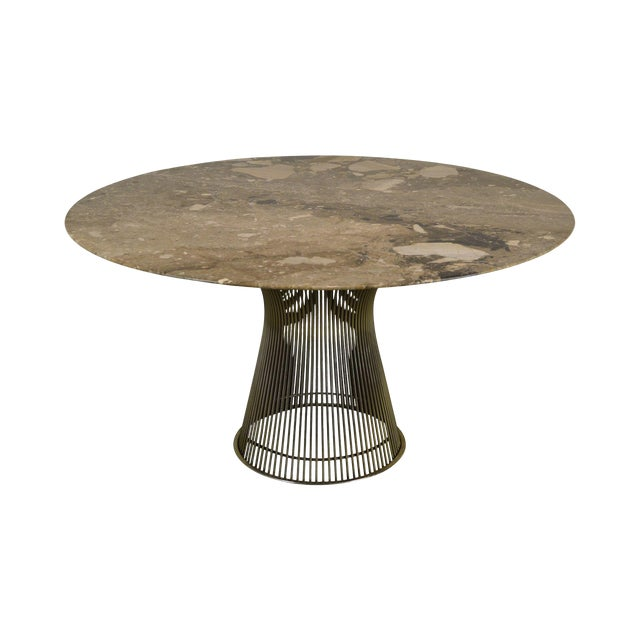 "Warren Platner for Knoll 54"" Round Marble Top Dining Table For Sale"