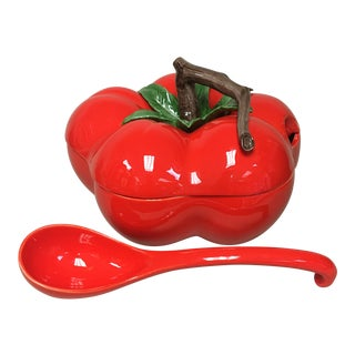 Fitz & Floyd Large Tomato Tureen with Ladle For Sale