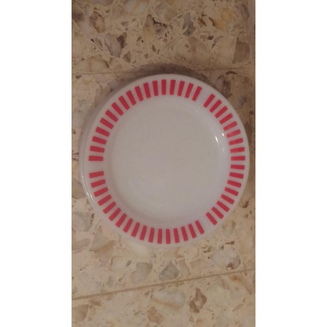 Hazel Atlas Red Candy Stripe Dinner Plates - Set of 8 For Sale - Image 9 of 11