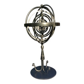 1980s Industrial Maitland Smith Iron Armillary Sculpture For Sale
