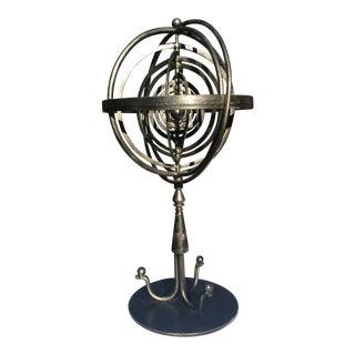 1980s Industrial Maitland Smith Iron Armillary Sculpture For Sale