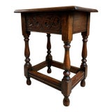 Image of 1900s Antique English Carved Oak Foot Stool For Sale