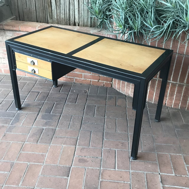 Iconic and stylishly functional Mid-Century Modern Desk with Chinoiserie Influence. Designed by Michael Taylor for the...