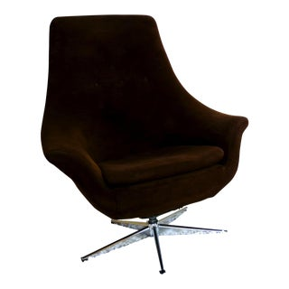 Overman Style Mid-Century Brown & Chrome Egg Chair For Sale