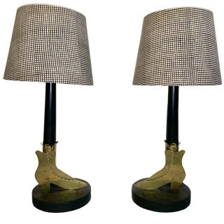 Mid 20th Century Vintage Brass Boot Lamps - a Pair For Sale