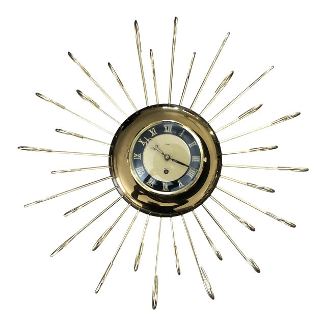 Vintage 1950s Mid Century Modern Wind Up Wall Clock For Sale