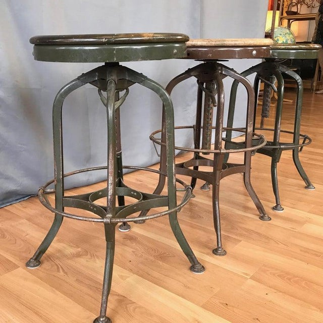 Metal Toledo Industrial Adjustable Height Backless Swivel Stools, Three Available For Sale - Image 7 of 13