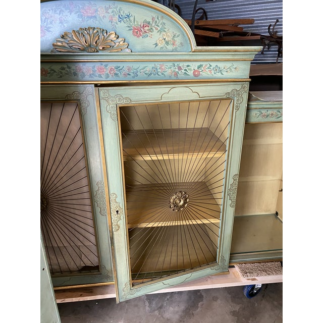 Wood Chinoiserie Cabinet With Sunburst Doors For Sale - Image 7 of 12
