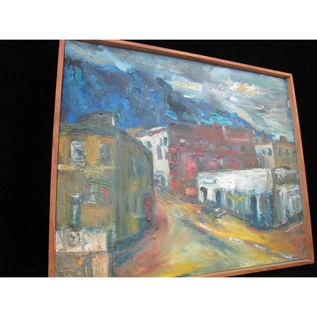 Mid 20th Century Portland Oregon Artist Virginia Holsman Cityscape Front St. Signed Oil Painting For Sale In Portland, OR - Image 6 of 10