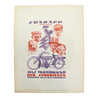 1926 Original German Art Deco Poster, Zündapp Nürnberg