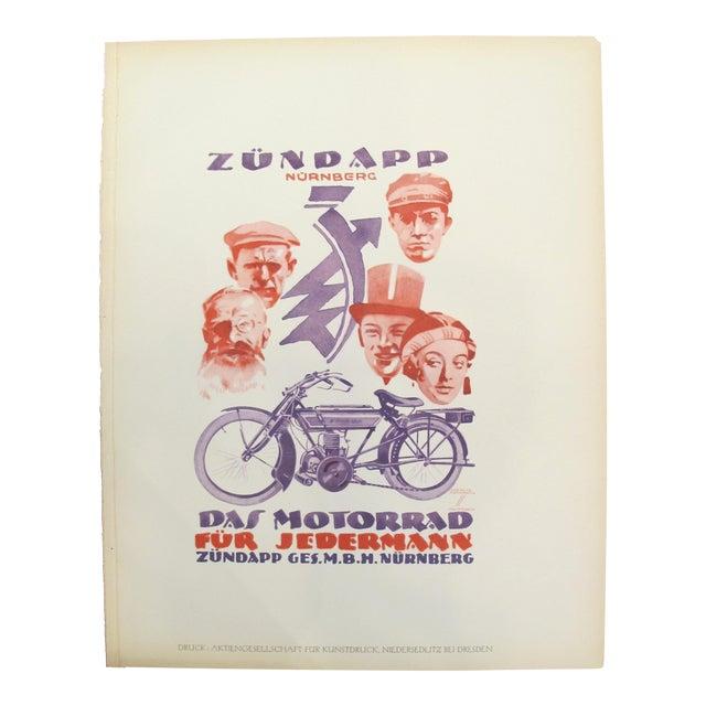 1926 Original German Art Deco Poster, Zündapp Nürnberg For Sale