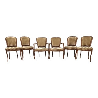 Set of Six French Antique Louis Dining Chairs Two Armchairs Four Side Chairs Great Condition For Sale
