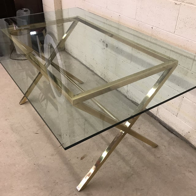 Contemporary Brass & Glass Dining Desk Table For Sale - Image 10 of 11