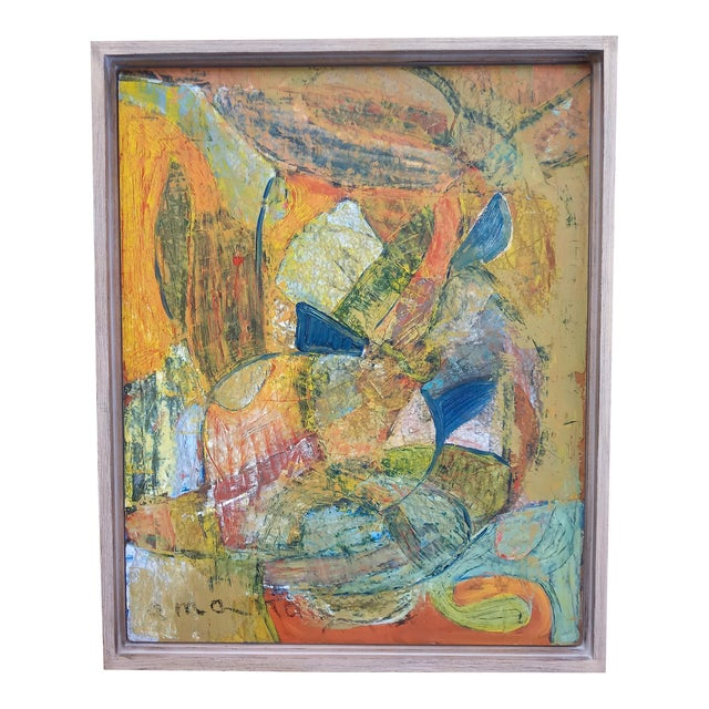 1960s Modernist Abstract Oil Painting, Framed For Sale