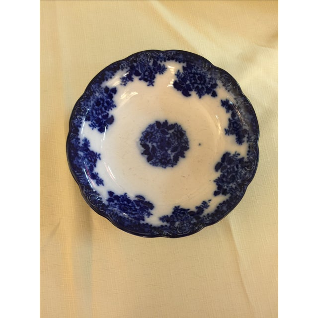 English Traditional Antique Waldorf Flow Blue Bowl For Sale - Image 3 of 4