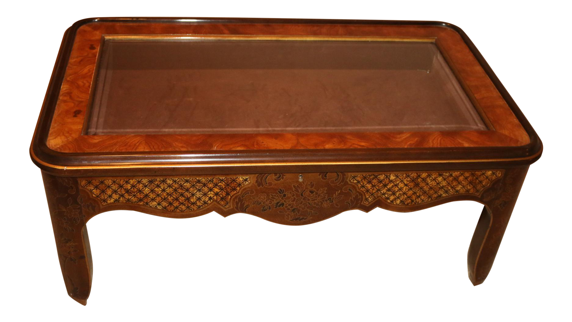 Drexel Curio Glass Top Burled Wood Coffee Table Chairish
