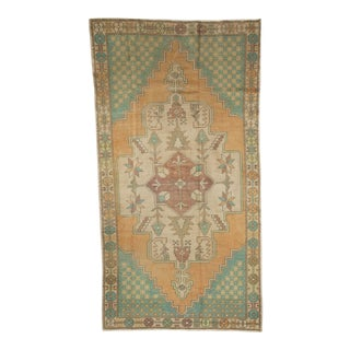 "Vintage Distressed Oushak Rug Runner - 4'3"" x 8' For Sale"