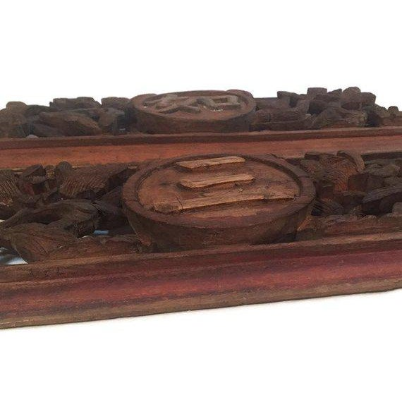 1940s Antique Chinese Wood Carved Panels - A Pair For Sale - Image 11 of 13