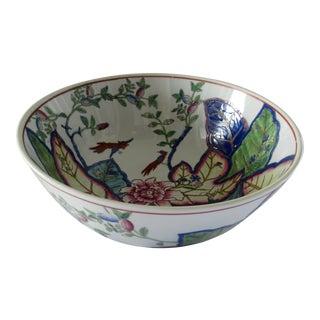 Large Tobacco Leaf Pattern Hand Painted Porcelain Bowl For Sale
