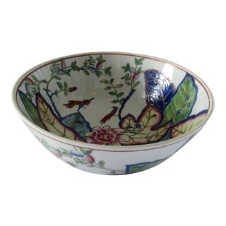 Large Tobacco Leaf Pattern Hand Painted Vintage Porcelain Bowl For Sale