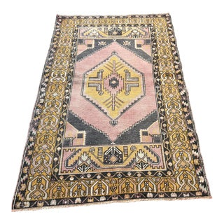 Turkish Oushak Antique Floor Rug - 3′8″ × 5′11″ For Sale