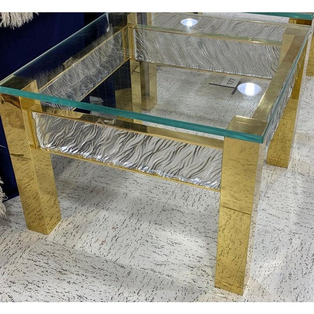 Pair of Modern Italian Murano Glass and Brass End Tables For Sale - Image 4 of 9