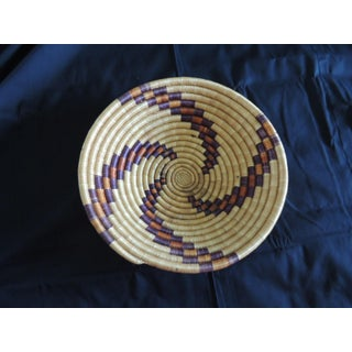 Woven Coil Round Orange and Purple Basket Preview