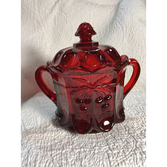 Traditional Vintage Moser Glass Cherry & Cable Ruby Spooner Vase With Double Handles For Sale - Image 3 of 8