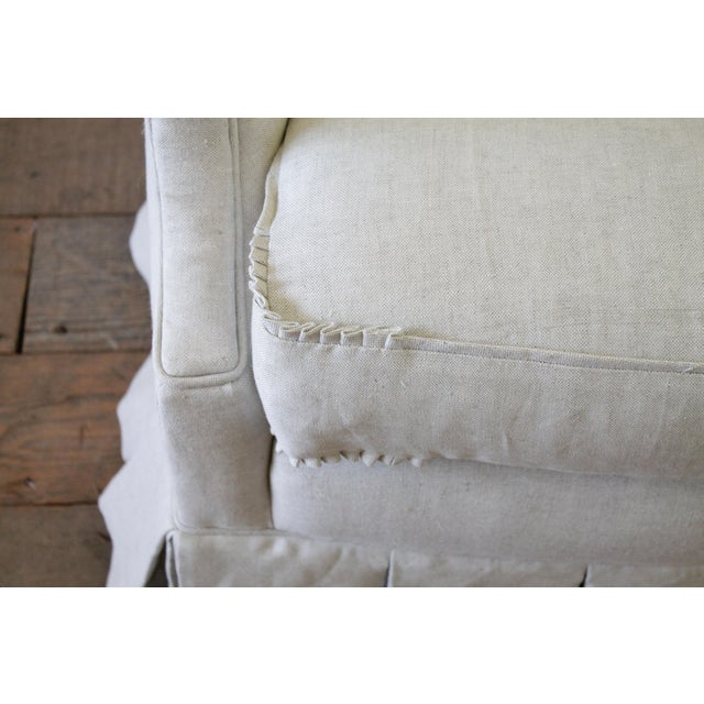 Belgian Vintage Custom Upholstered Linen Box Pleated Ruffle Skirt Chair For Sale - Image 3 of 7