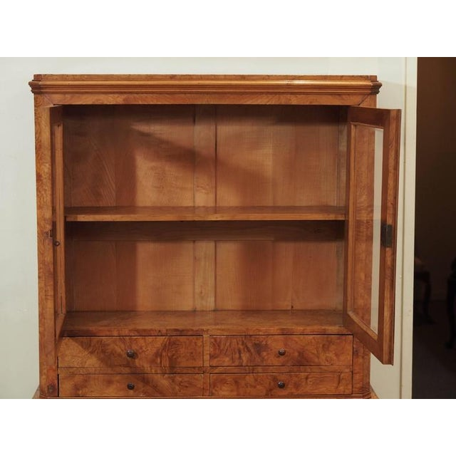 Modern Antique French Louis Philippe Burled Elm Writing Table or Secretaire For Sale - Image 3 of 9
