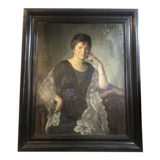 1919 Portrait of a Lady With Locket Painting, Framed For Sale