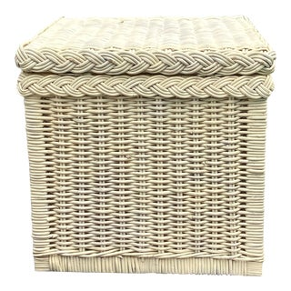 Vintage Distressed White French Wicker Square Storage Trunk For Sale
