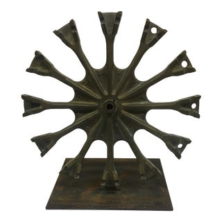 Rustic Industrial Gear on Stand For Sale