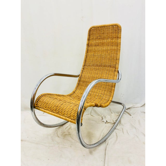 Stunning Vintage Mid Century Modern Marcel Breuer for Thonet Woven Rattan & Tubular Chrome Rocking Arm Chair. Original...