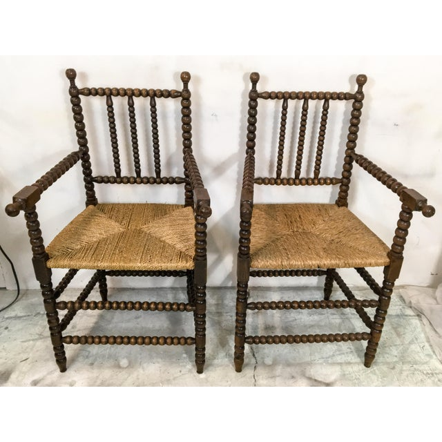Pair of Antique French Oak Spool Chairs For Sale - Image 5 of 8
