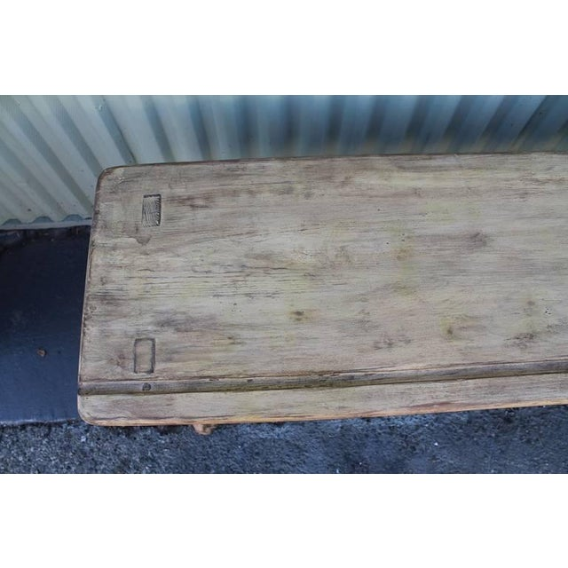 Brown 19th Century Cream Painted Bucket or Farm Bench from Pennsylvania For Sale - Image 8 of 9