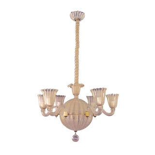 Mid-Century Murano, Six Light Spheroid Chandelier by Dino Martens For Sale